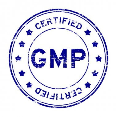 Grunge blue GMP (Good manufacturing practice) and certified rubber stamp