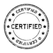 Grunge black round certified stamp with star on white background