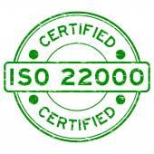 Fotografie Grunge green round certified ISO22000 rubber stamp
