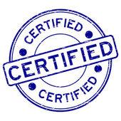 Fotografie Grunge blue round certified rubber stamp