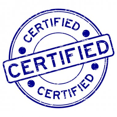 Grunge blue round certified rubber stamp