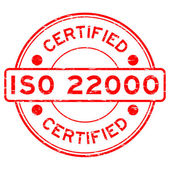 Fotografie Grunge red round certified ISO22000 rubber stamp