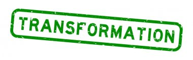 Grunge green transformation word square rubber seal stamp on white background icon