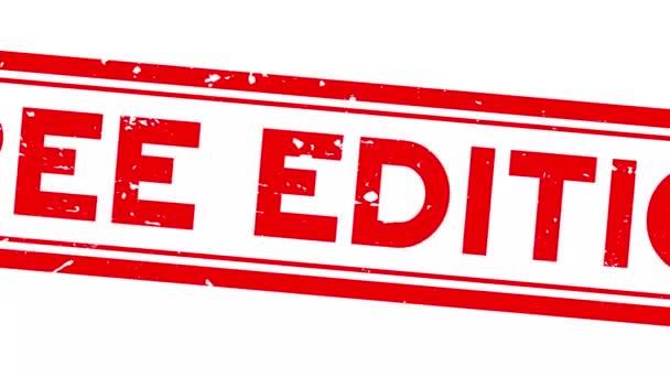 Grunge piros ingyenes kiadás szó négyzet gumi pecsét zoom fehér háttér