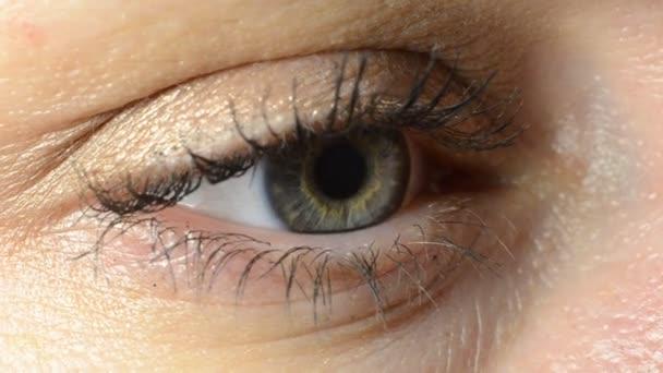 Macro shot of a young woman blinking eye