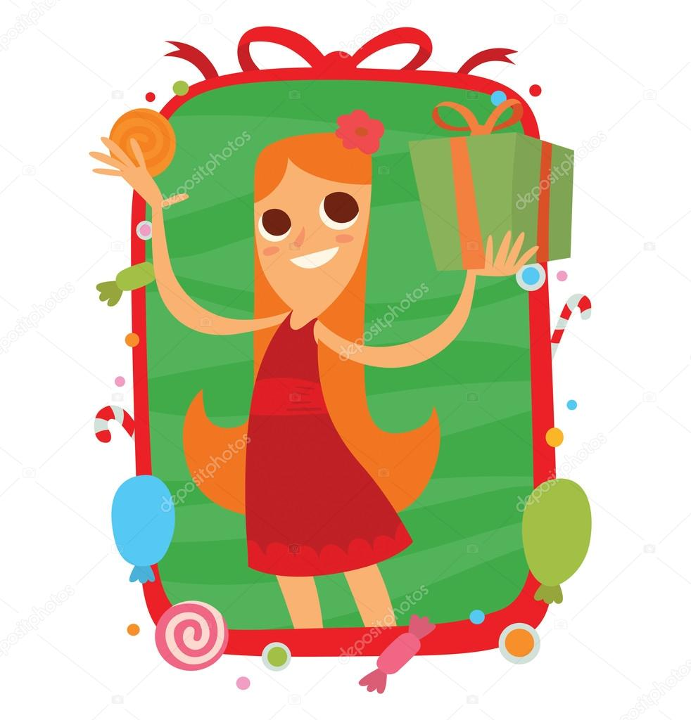 Funny Girl With A Green Gift Frame Stockillustration