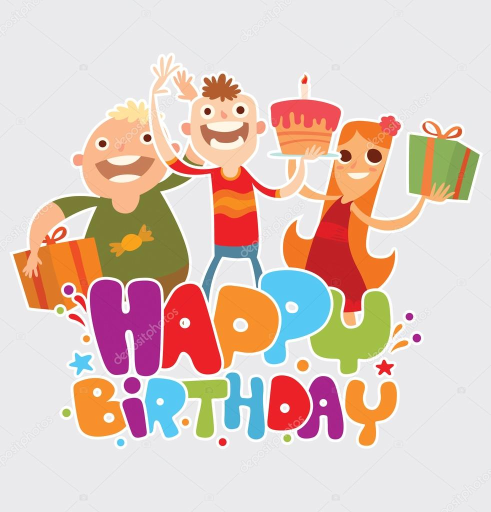 Happy birthday card with friends stock vector tannilionail happy birthday card with friends stock vector bookmarktalkfo Image collections