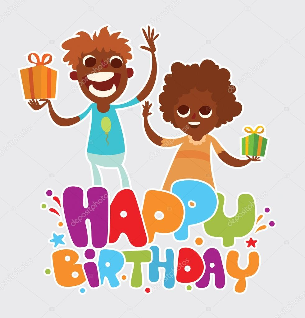 Happy Birthday Card With Black Boy And Girl Stock Vector