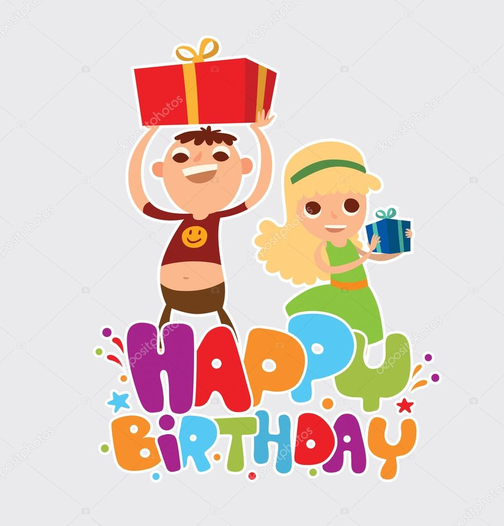 Happy Birthday Card With Two Friends Of Girl And Boy векторное