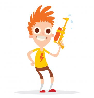 Funny boy with an orange-yellow water gun