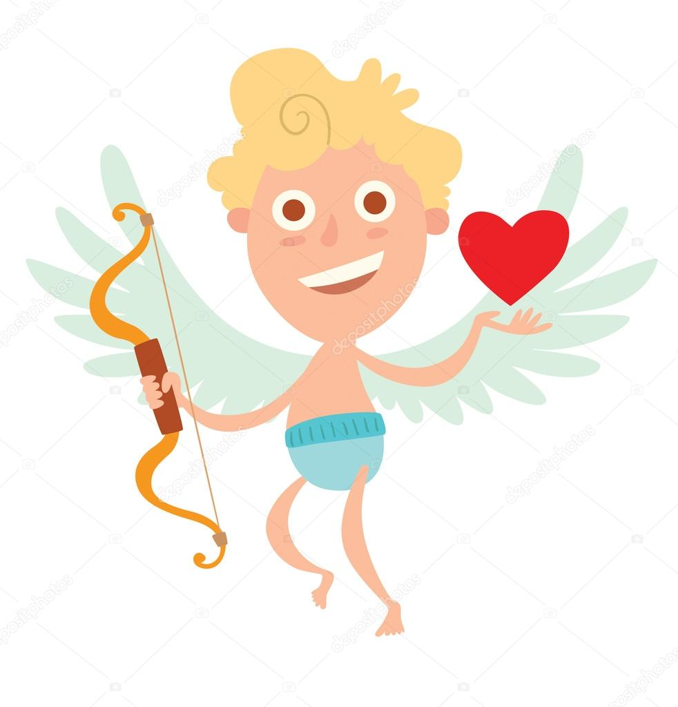 Cute Little Cupid With Bow And Heart Symbol Stock Vector