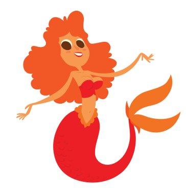 Funny beautiful mermaid with orange wavy hair