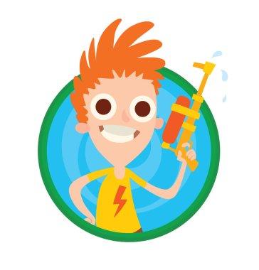 Round frame, funny boy with orange-yellow water gun