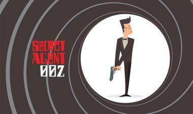Gun barrel, secret agent with a handgun