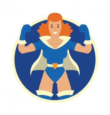 Round frame, woman superhero with ginger hair