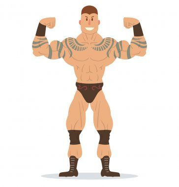 Wrestler with tattoos