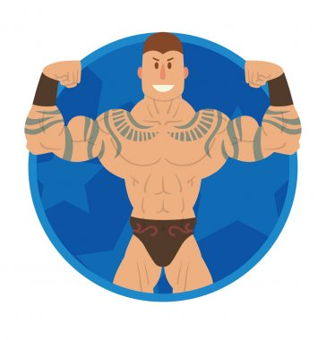 Round blue frame, wrestler with tattoos