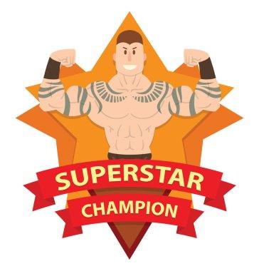 Star frame, wrestler with tattoos
