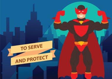 Man superhero in ren mask, night city