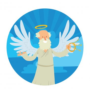 Heaven round frame, old male angel with gray hair