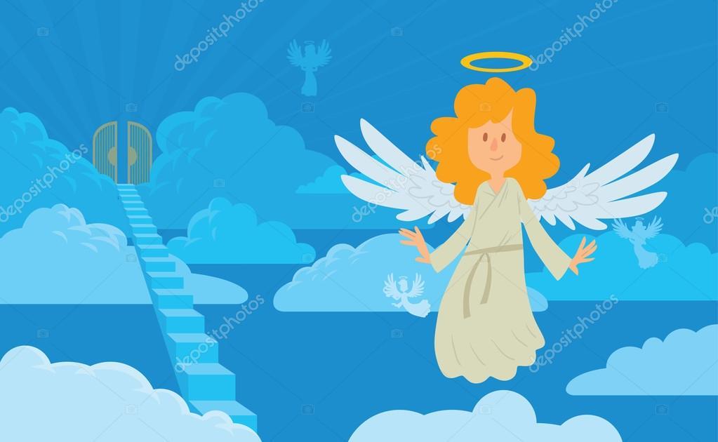 Fotos Dibujo De Un Angel En El Cielo Pequeño ángel Femenino Con