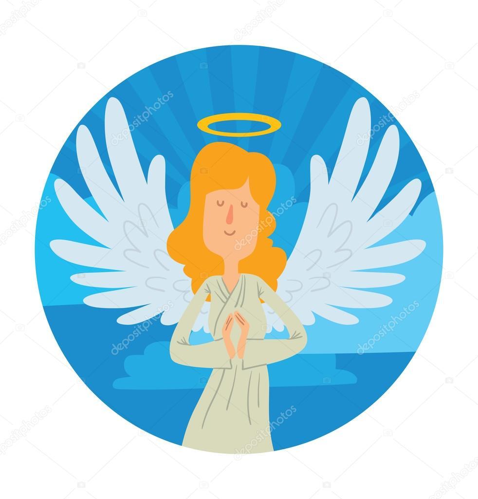 Cielo redondo marco, angel mujer con pelo largo Rubio — Vector de ...