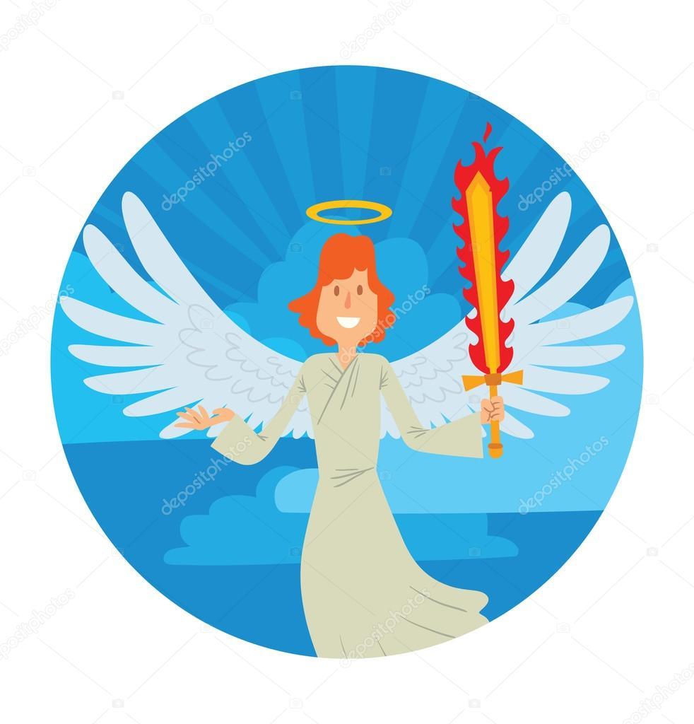 Cielo redondo marco, angel macho con pelo rojo — Archivo Imágenes ...