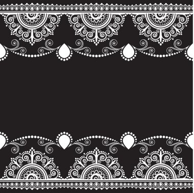 Indian, Mehndi Henna line lace element with flowers pattern card for tattoo on black background