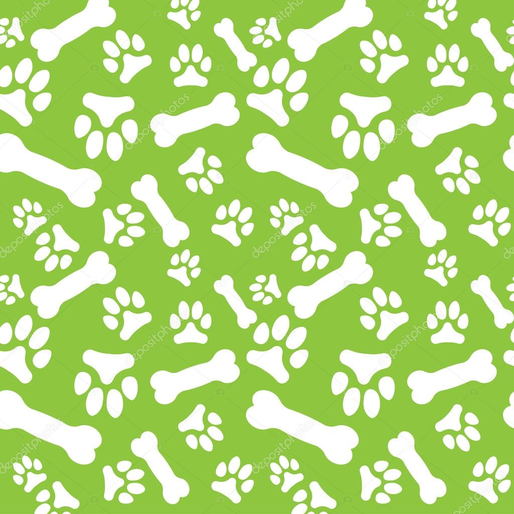 4dfa1cf06a7c Seamless pattern with white dog paw prints and bones on a green background. Vector  illustration — Vector by AlexSunset