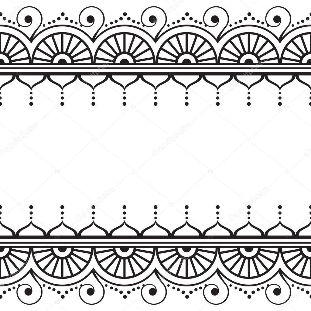 Indian, Mehndi Henna Line Spitzen-Element mit Kreis und Welle Muster ...