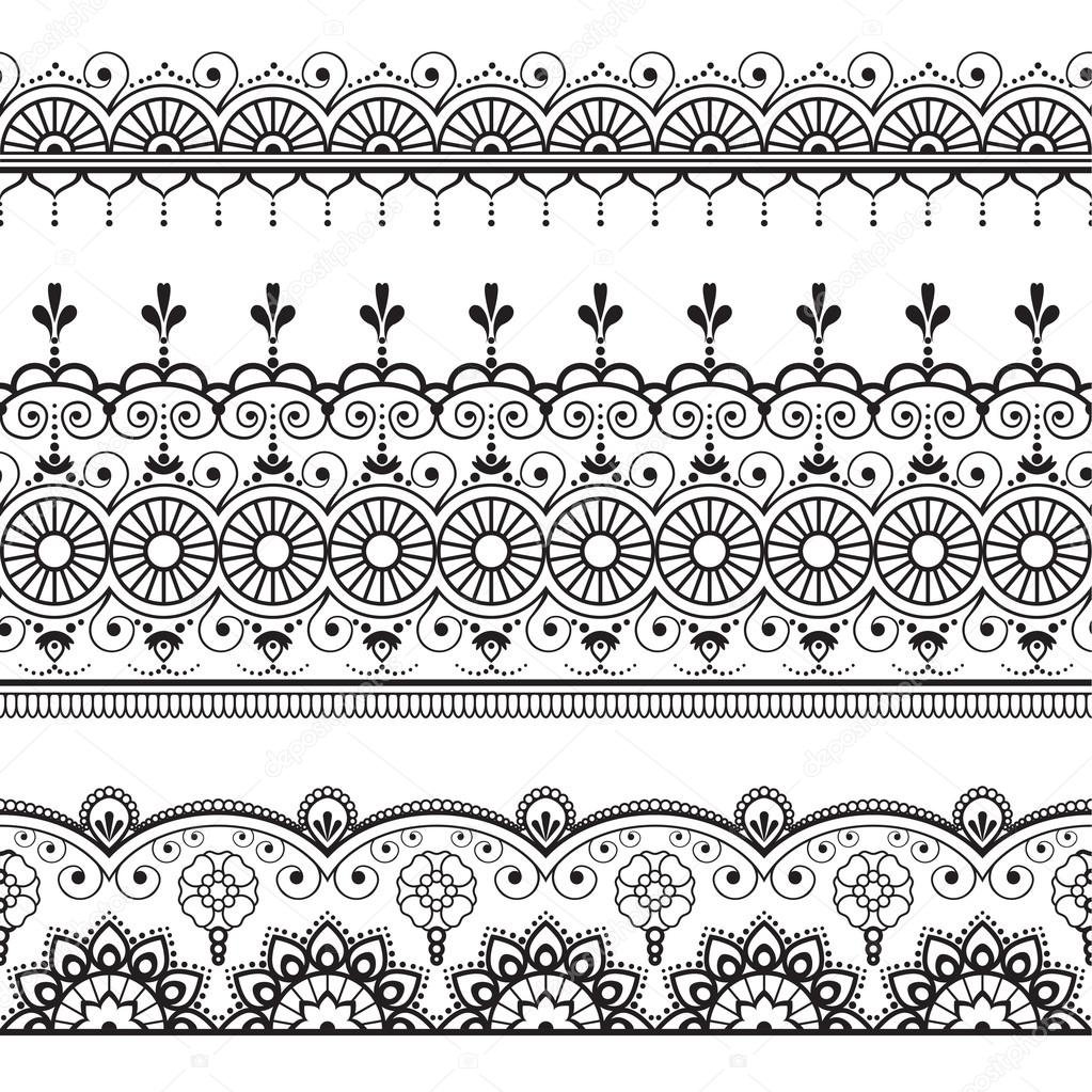 Henna Design Line Art : Indiano mehndi henna linha três elementos padrão de renda