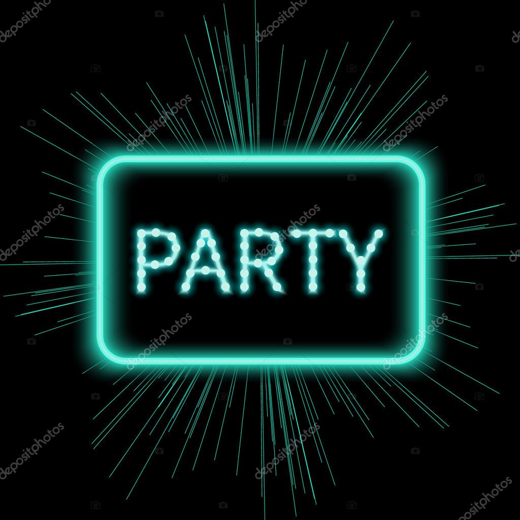 Neon party sign template stock vector naumas 110344688 neon party sign shining retro light banner night club electric signboard with bright neon lights party invitation vector illustration stopboris Choice Image
