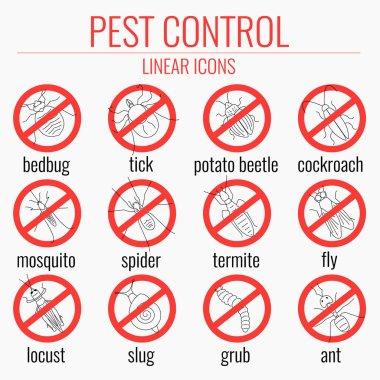 Pest control warning icon set