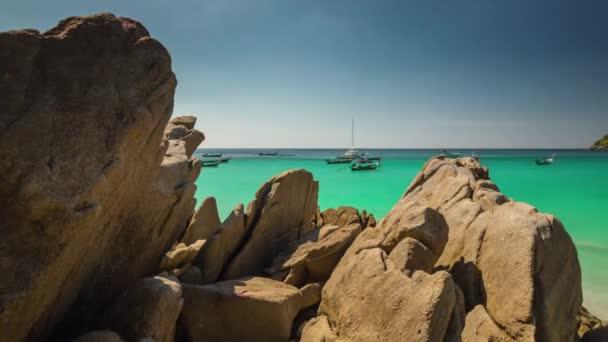 phuket napos nap strand turista csónak panoráma 4k idő szünet Thaiföld