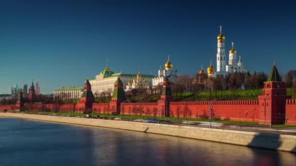 sunset light moscow river bay kremlin panorama 4k time lapse russia