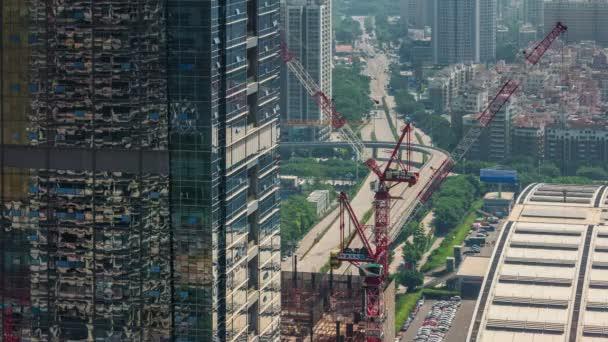 Čína den lehké shenzhen města stavební provoz ulice střešní horní pohled 4 k časová prodleva