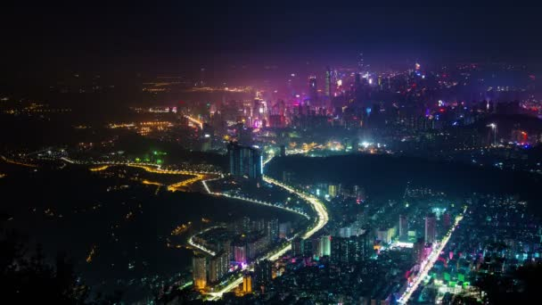 china shenzhen night light high view panorama 4k time lapse