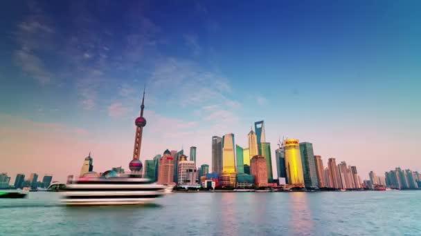 china shanghai sunset river bay water traffic panorama 4k time lapse