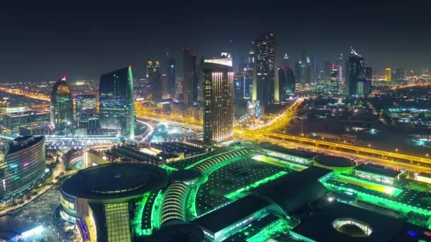 night illumination dubai mall roof top city panorama 4k time lapse united arab emirates