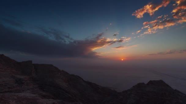 uae summer sunset al ain mountain abu dhabi panorama 4k time lapse