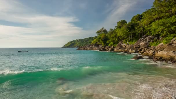 Thailand summer day phuket freedom beach panorama hd– stock footage