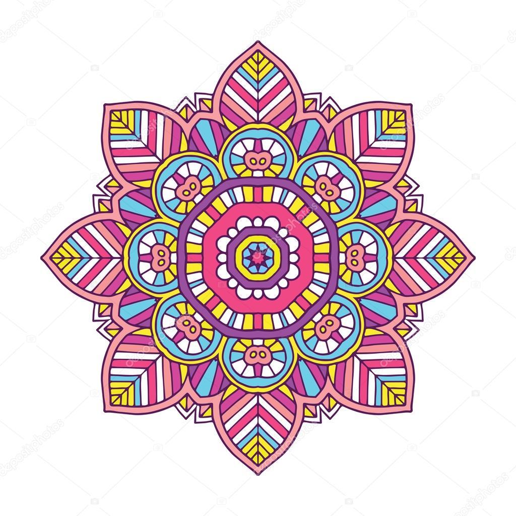 Imágenes Mandalas A Color Mandala De Flores Color Vector De