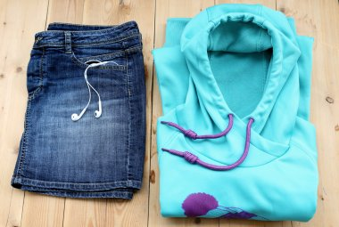 Outfit of casual sport woman.