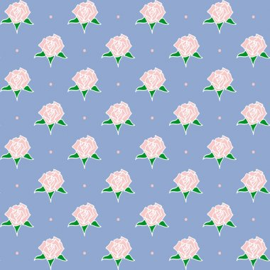 Seamless pattern with hand-drawn roses