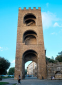 View of Porta San Niccolo in the ancient defense walls of Florence, Italy. High quality photo