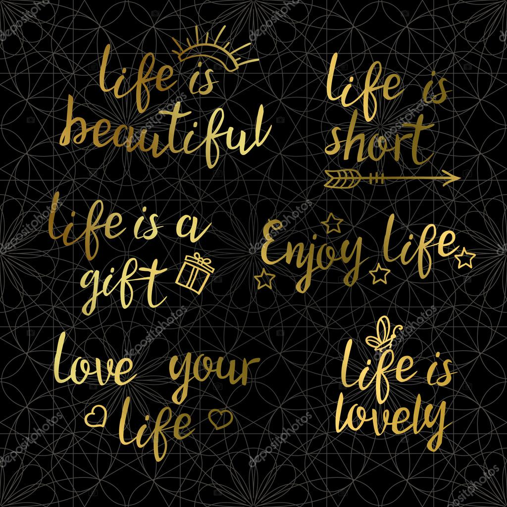 Lettering Golden Quotes About Life On A Dark Background Stock