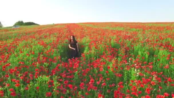 pan střílet ženy v černých šatech na kvetoucí mák květiny pole