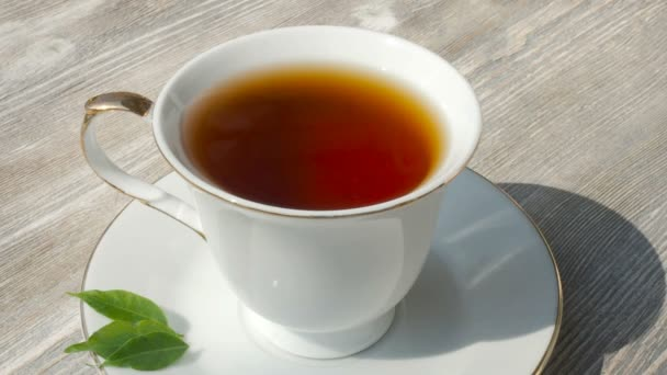 Bílý šálek horkého čaje černého, zblízka