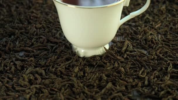 Hot tea in a porcelain cup