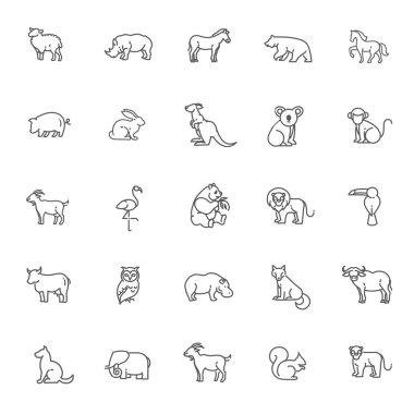 animal icons. Zoo  line icons. Animal